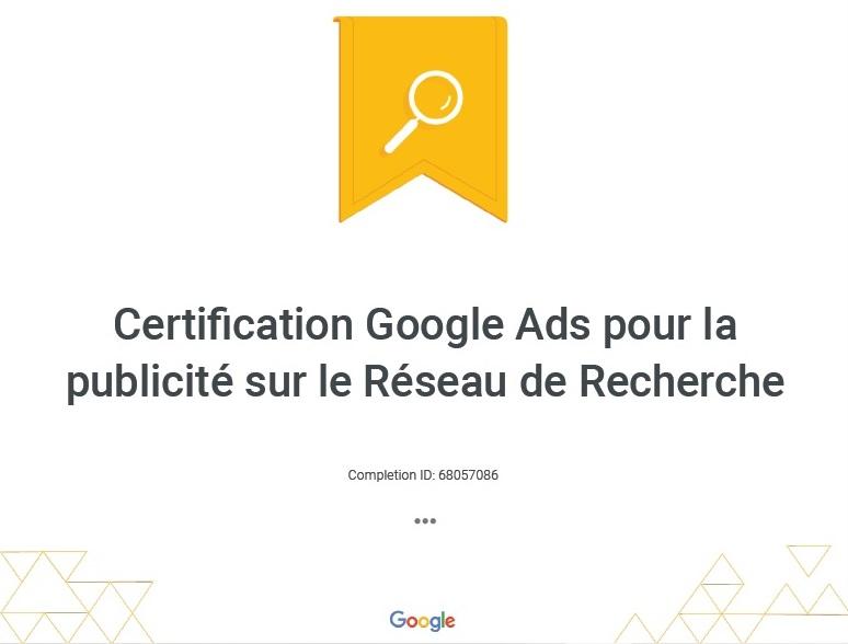 Publicité Google certification